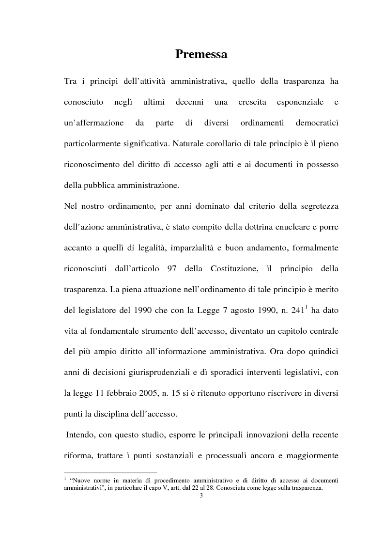 Anteprima della tesi: Il diritto di accesso agli atti e ai documenti presso la Pubblica Amministrazione, Pagina 1