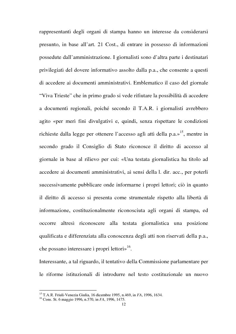 Anteprima della tesi: Il diritto di accesso agli atti e ai documenti presso la Pubblica Amministrazione, Pagina 10