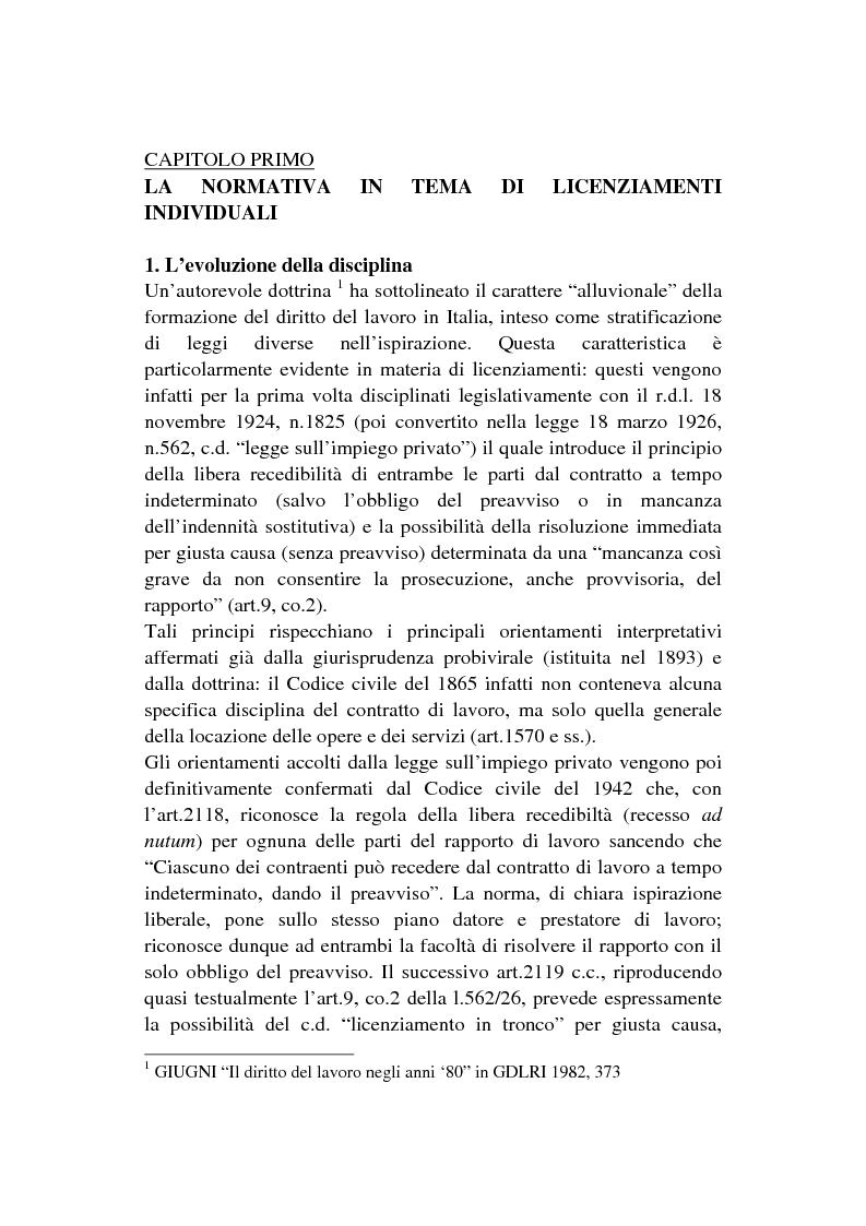 Anteprima della tesi: I licenziamenti invalidi ed i regimi sanzionatori, Pagina 1