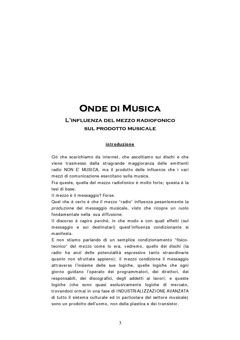 Anteprima della tesi: Onde di Musica. L'influenza del mezzo radiofonico sulla produzione musicale, Pagina 1
