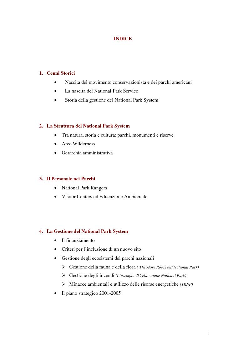 Indice della tesi: Il National Park Service: la gestione delle aree protette negli Stati Uniti d'America, Pagina 1
