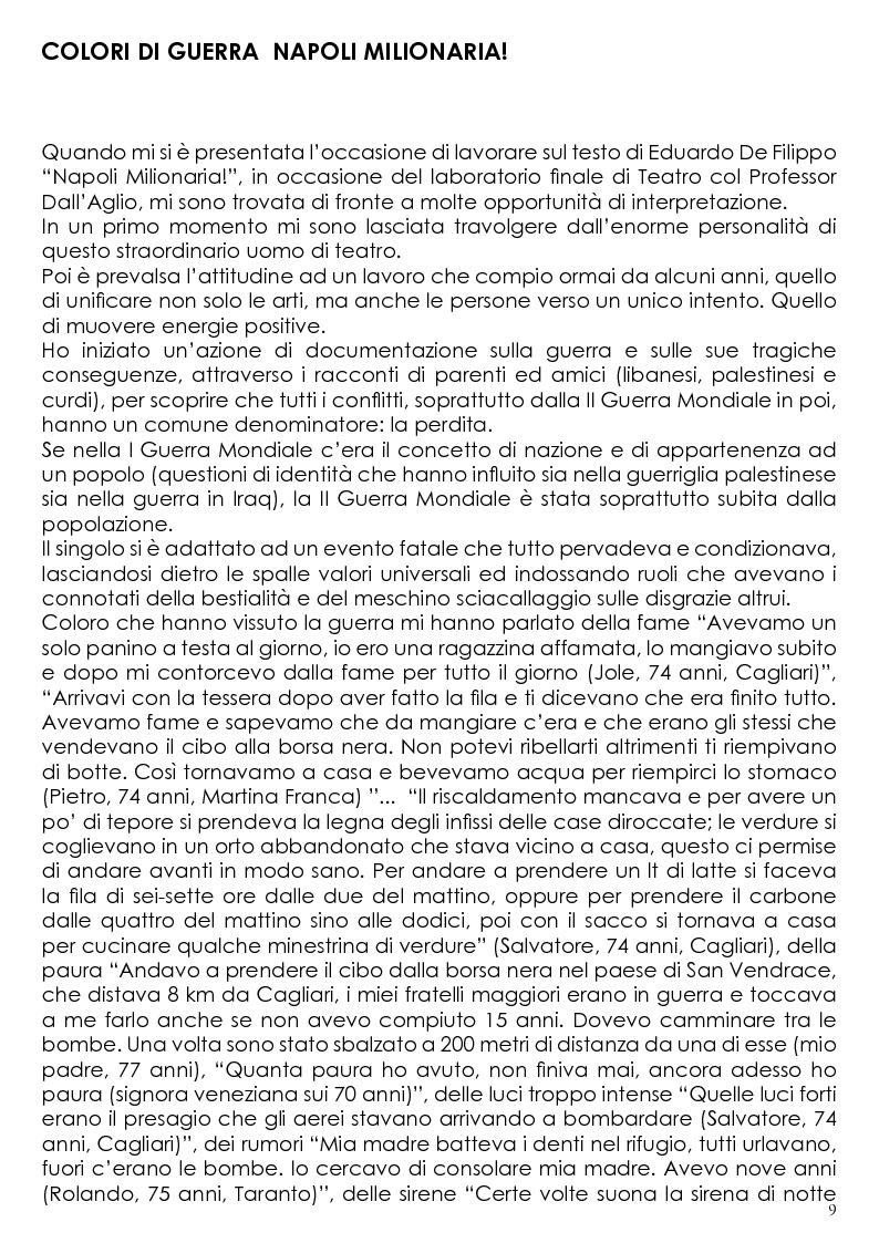 Anteprima della tesi: L'Unione delle Arti nella Regia Teatrale. Colori di Guerra. Messa in scena dell'opera ''Napoli Milionaria!'' di Eduardo De Filippo, Pagina 3