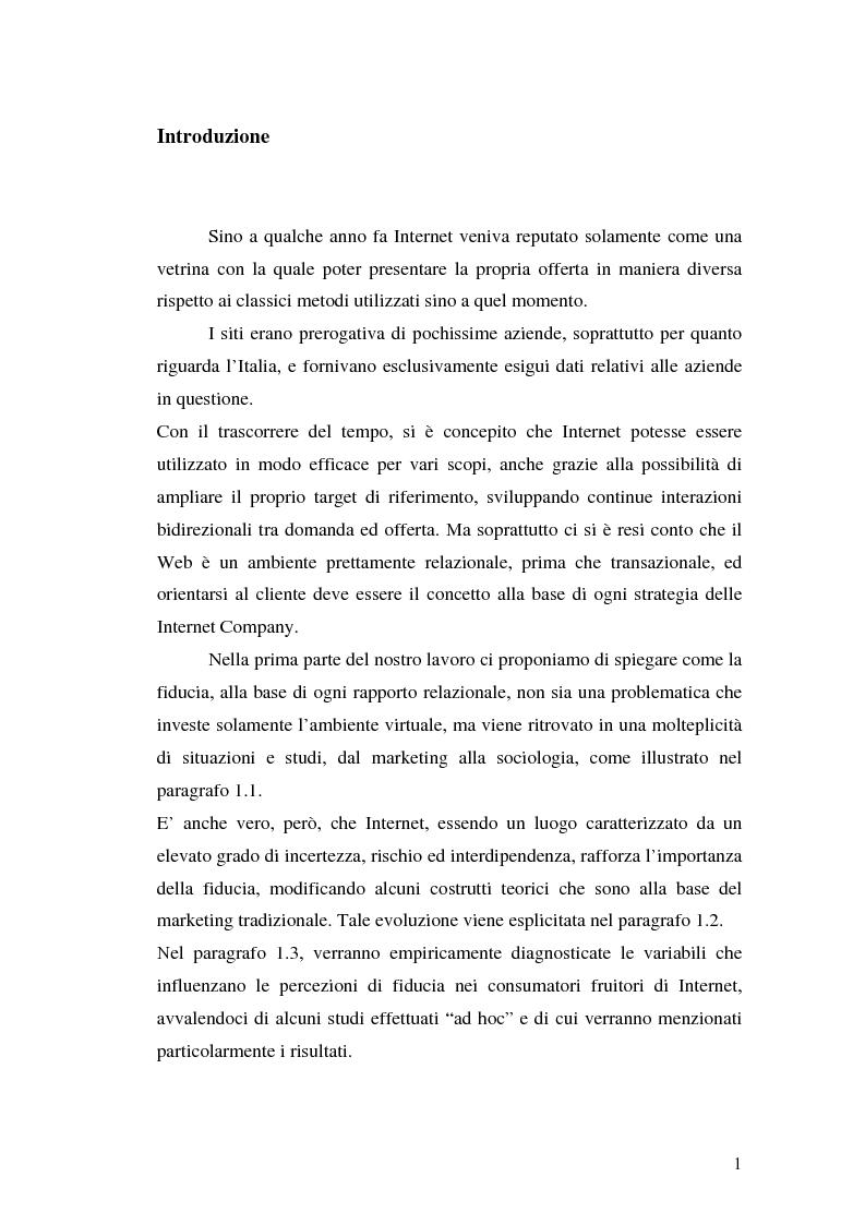 Anteprima della tesi: La fiducia in rete: concetti teorici ed evidenze empiriche, Pagina 1