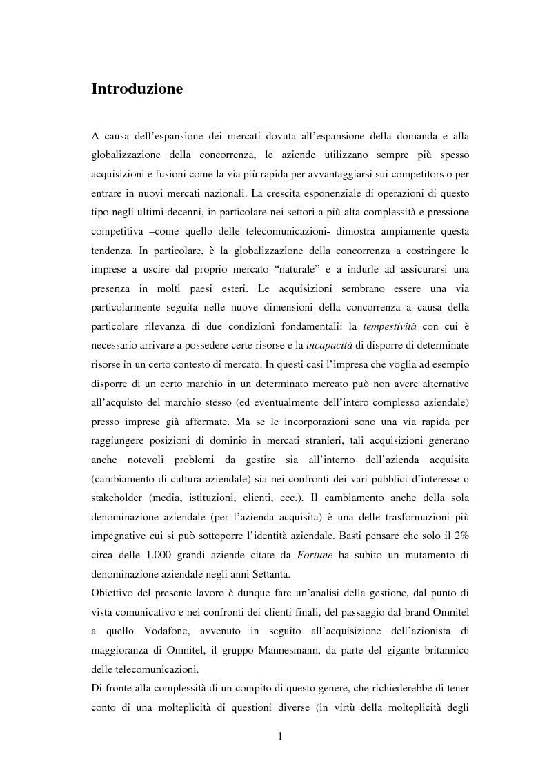 Anteprima della tesi: Da Omnitel a Vodafone: la gestione strategica del cambiamento di brand, Pagina 1