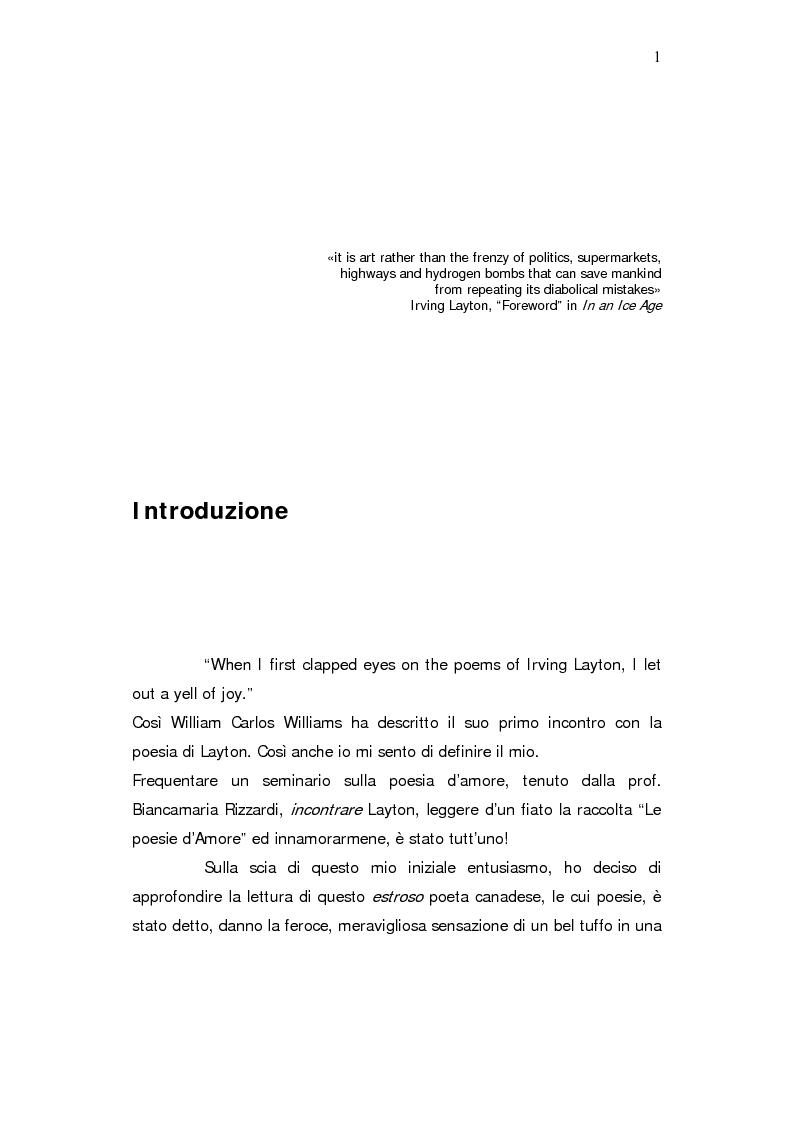 "Anteprima della tesi: ""The Dirtiest Predator of All"" - Irving Layton e l'uomo moderno, Pagina 1"