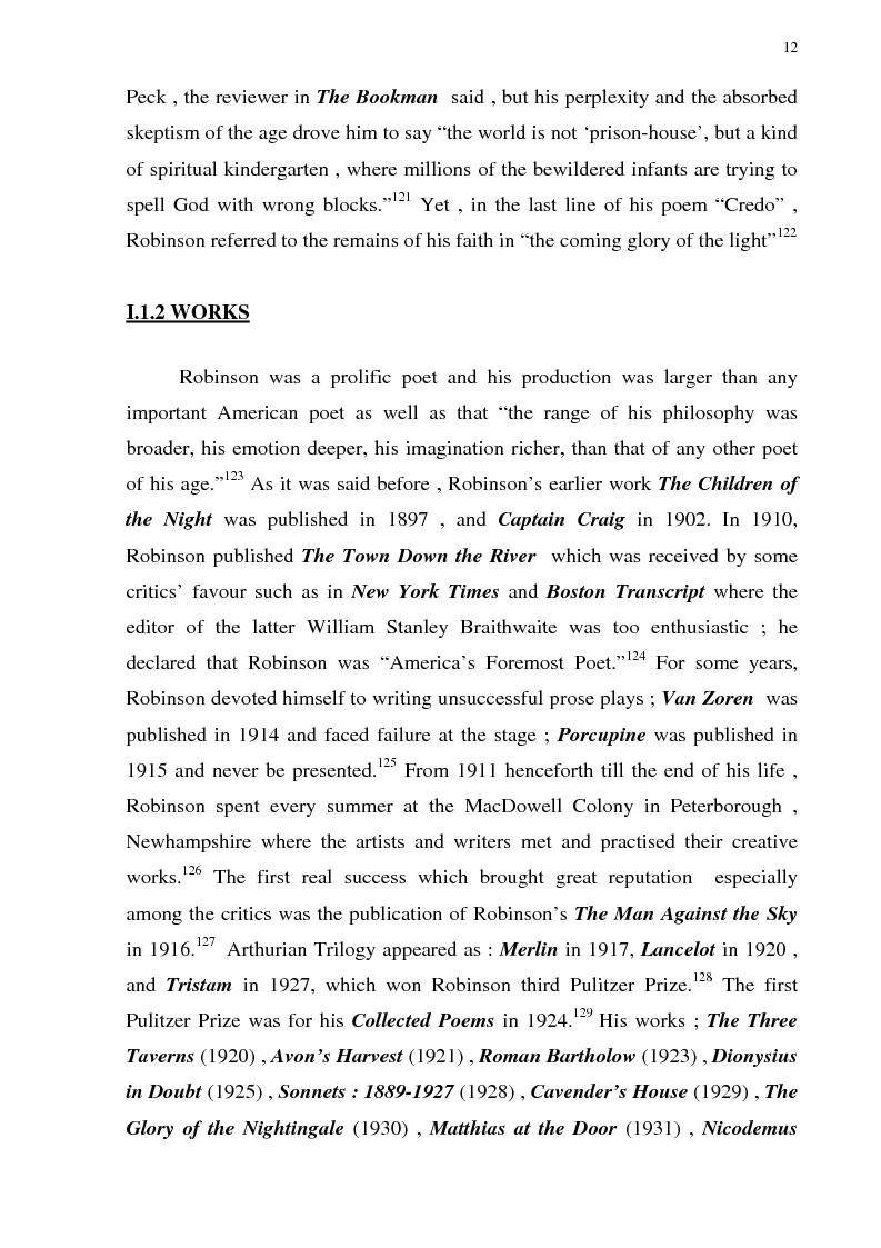 Anteprima della tesi: The Omniscient Narration in Edwin Arlington Robinson's Poetry, Pagina 12