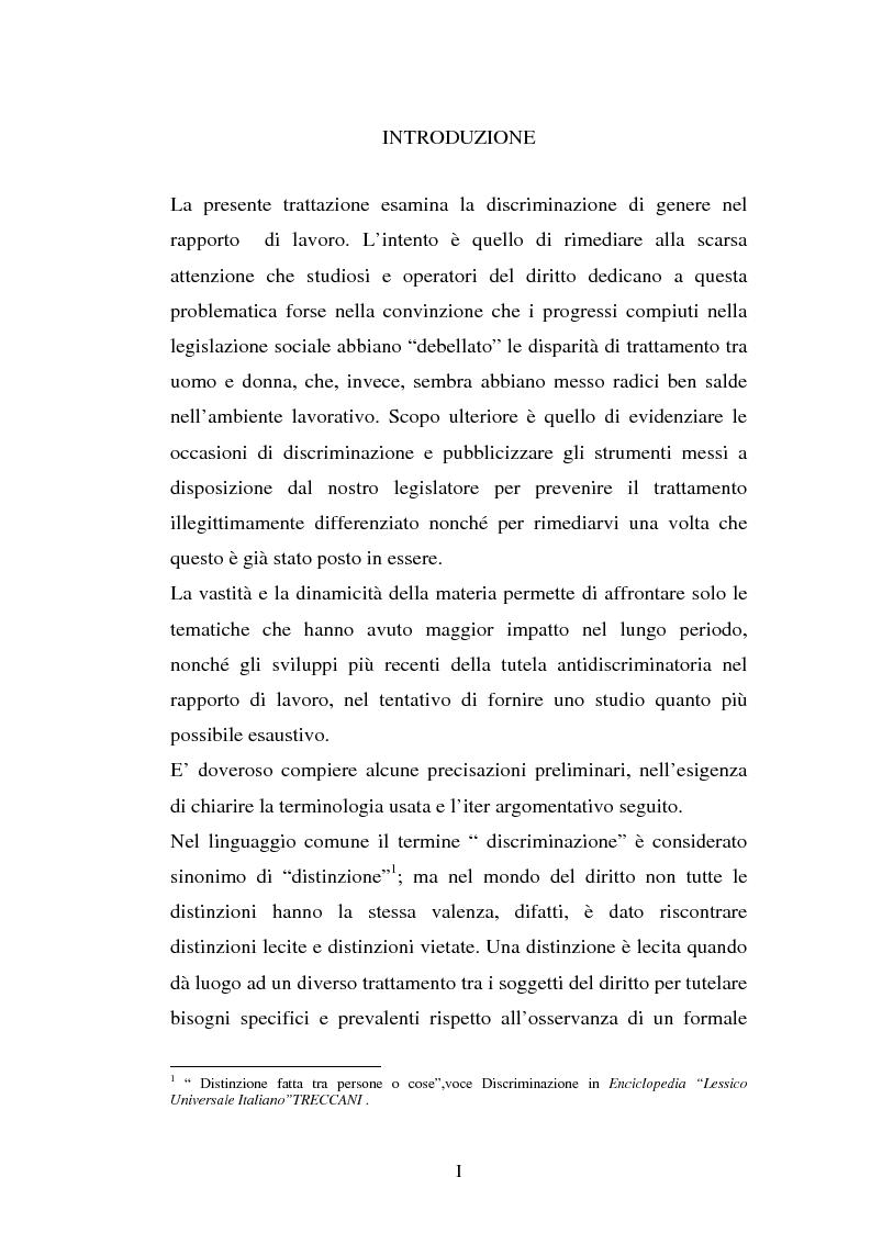 Anteprima della tesi: Le discriminazioni di genere nel rapporto di lavoro, Pagina 1