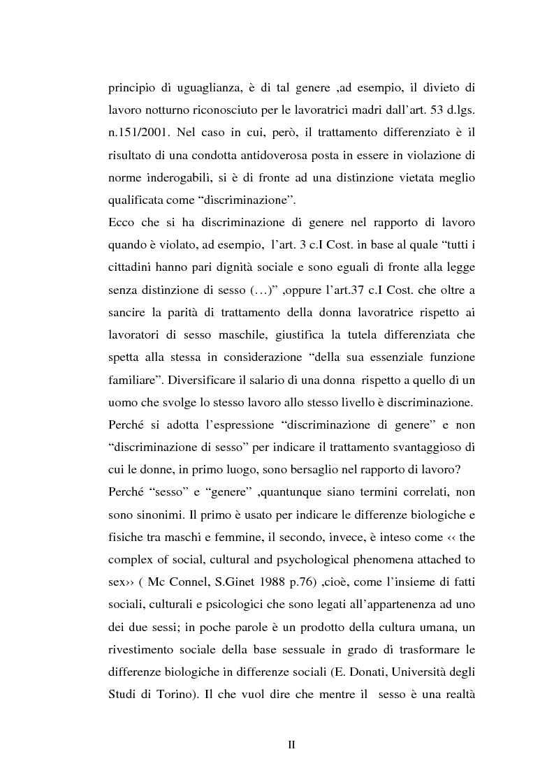 Anteprima della tesi: Le discriminazioni di genere nel rapporto di lavoro, Pagina 2