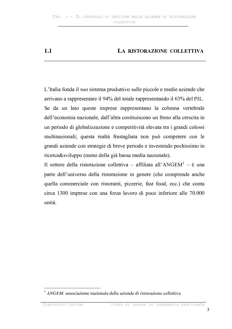 Anteprima della tesi: Analisi e riprogettazione dei processi organizzativi a supporto del controllo di gestione. Il caso della ristorazione collettiva, Pagina 6
