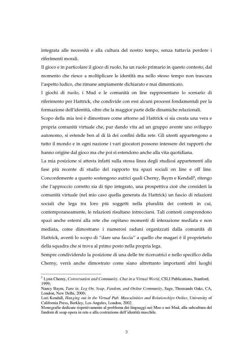 Anteprima della tesi: Hattrick: gioco di calcio virtuale ma soprattutto fenomeno di socializzazione, Pagina 3