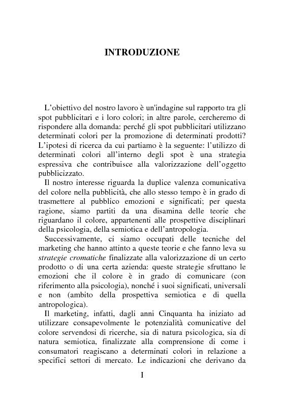 Anteprima della tesi: United Colors of Spot. Emozioni e significati veicolati dal colore negli spot televisivi., Pagina 1
