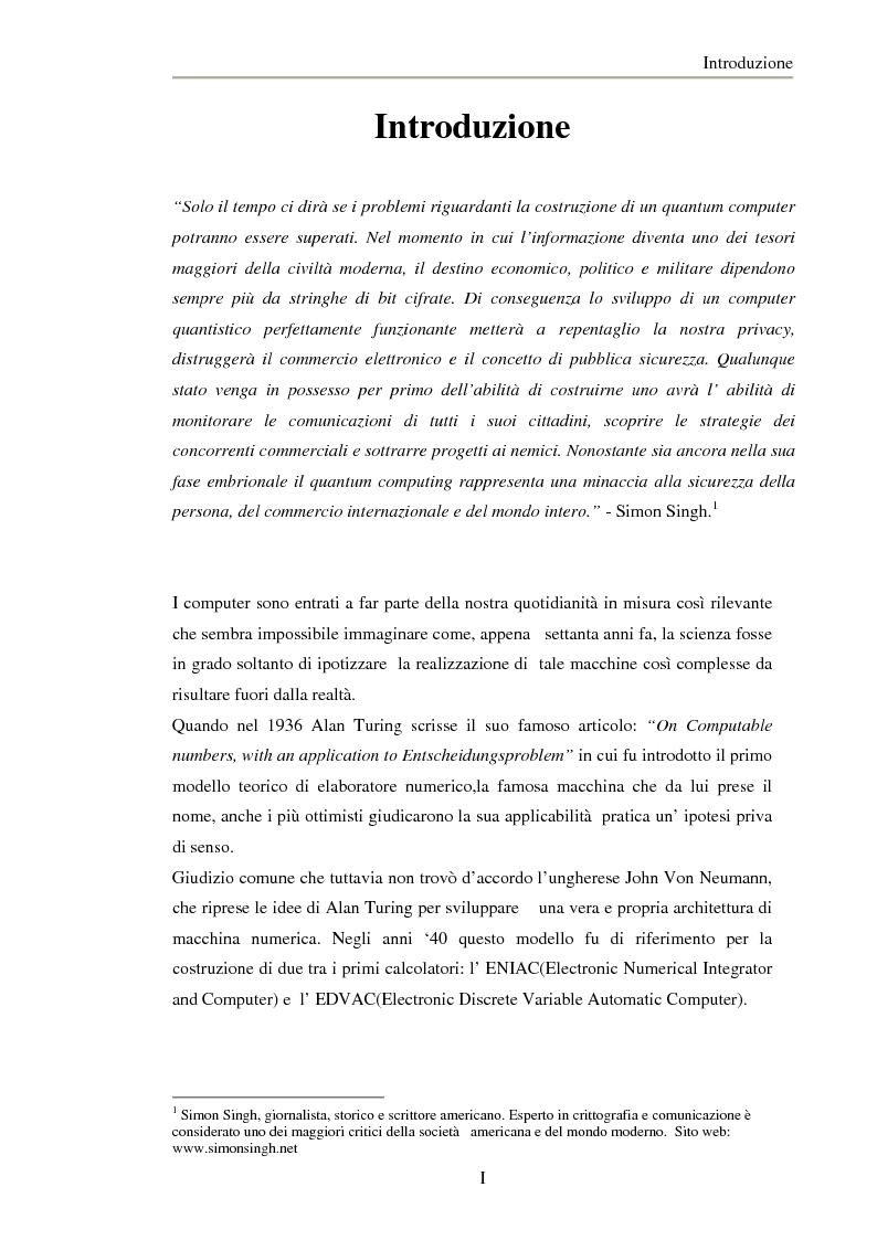 Anteprima della tesi: Studio di codici correttori nell'ambito dell'elaborazione quantistica dell'Informazione, Pagina 1