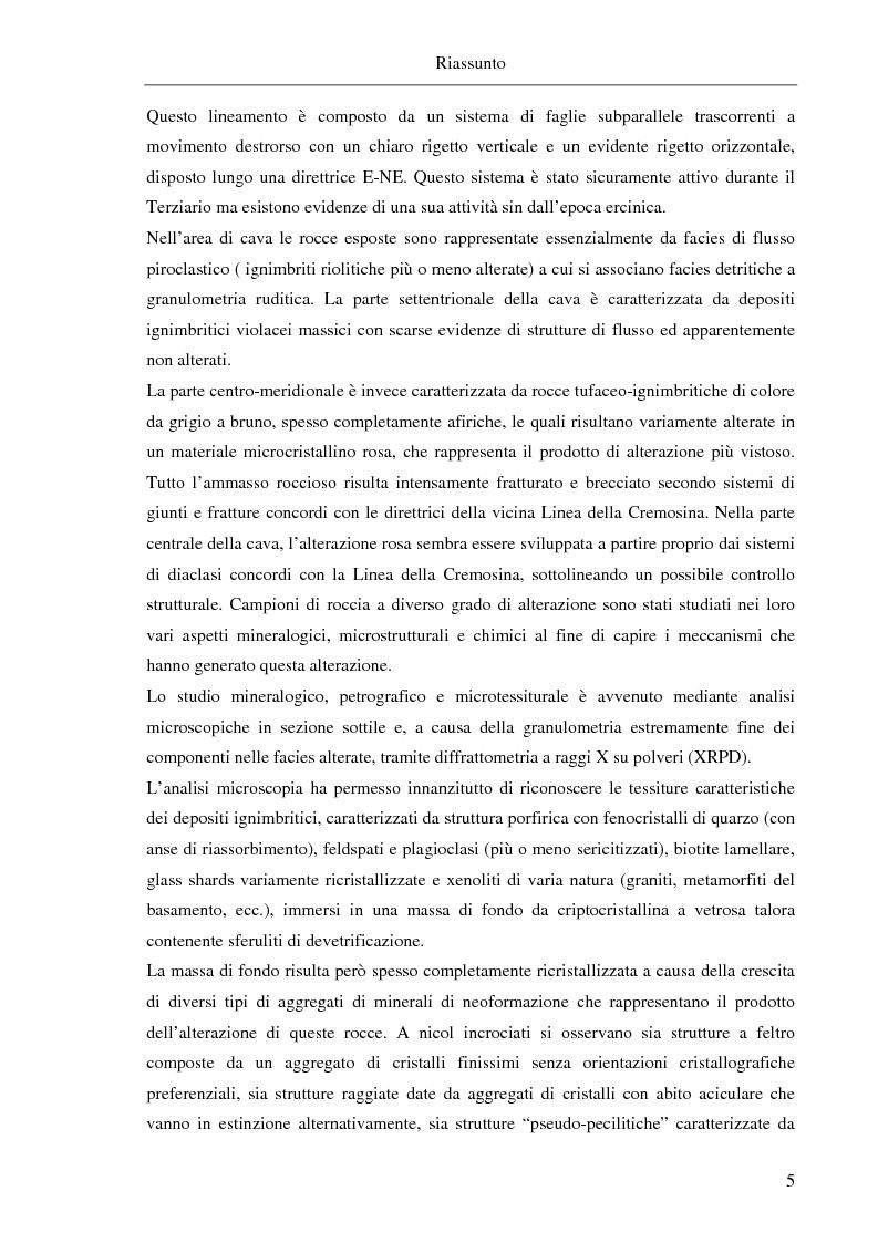 Anteprima della tesi: Caratterizzazione geologica, mineralogica e geochimica di vulcaniti alterate per la formazione di ceramiche vetrificate, Caprile (prov. di Biella), Pagina 2