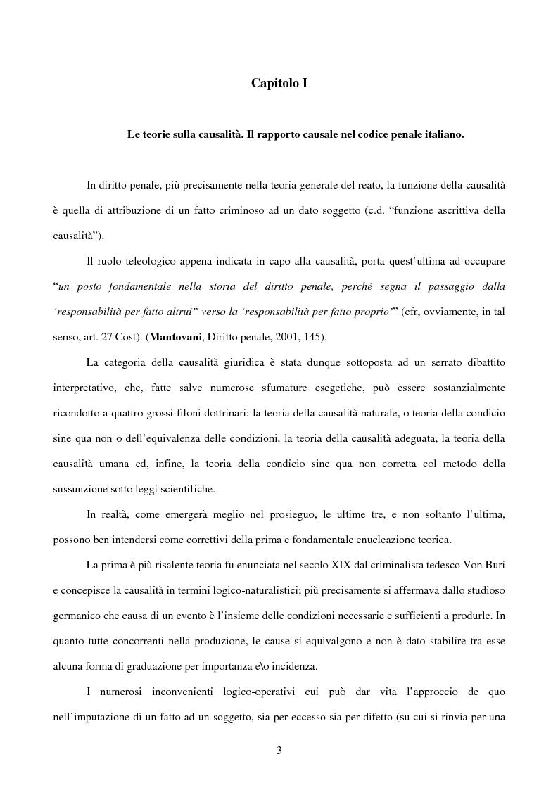 Anteprima della tesi: Il nesso causale nella responsabilità medico-chirurgica e da esposizione a sostanze tossiche, Pagina 1