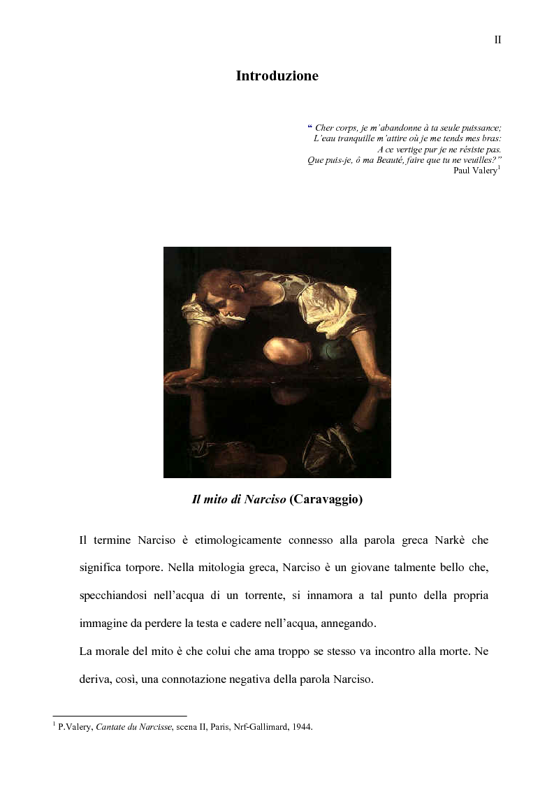 Anteprima della tesi: Narciso e la sostenibile pesantezza dell'effimero, Pagina 1