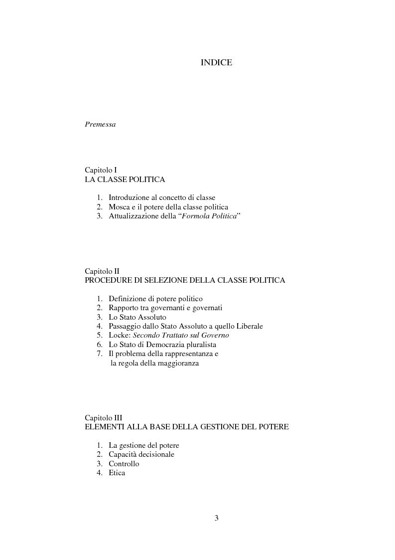 Indice della tesi: Classe politica, gestione del potere e cultura della cittadinanza, Pagina 1