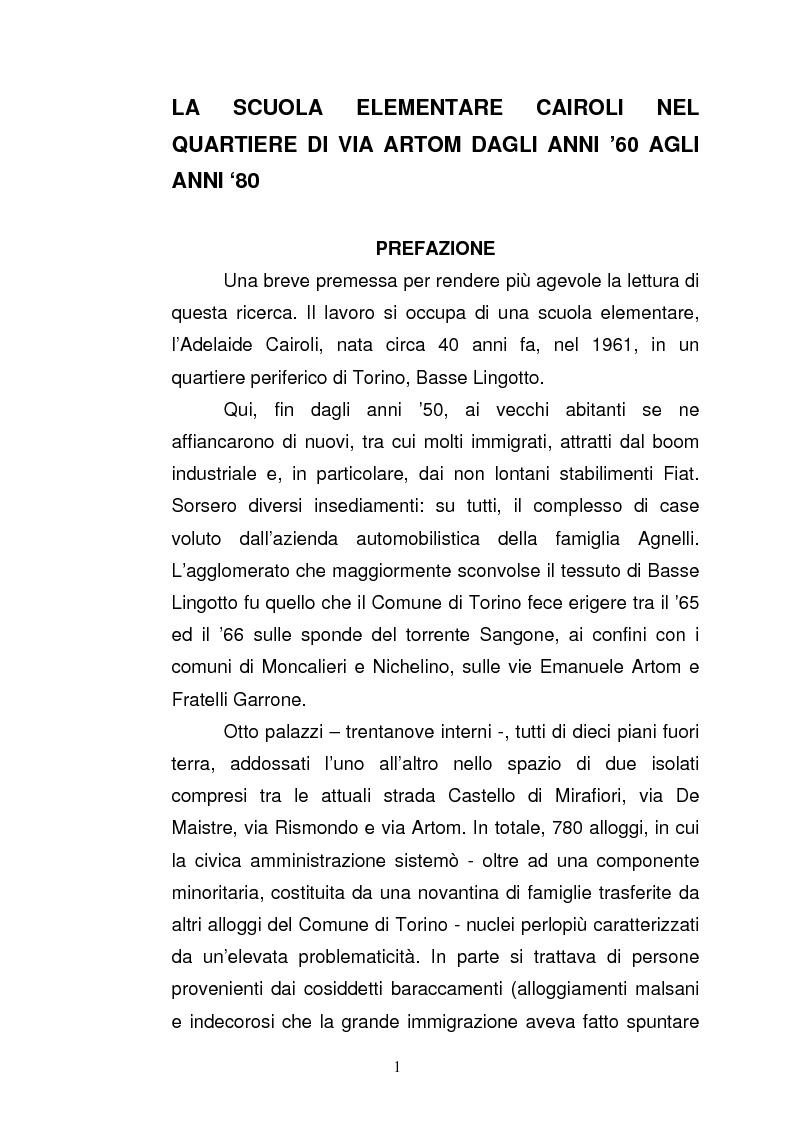 Anteprima della tesi: La scuola elementare Cairoli nel quartiere di via Artom dagli anni '60 agli anni '80, Pagina 1