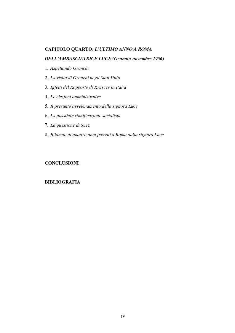 Indice della tesi: L'ambasciata di Clare Boothe Luce in Italia, 1953-1956, Pagina 3