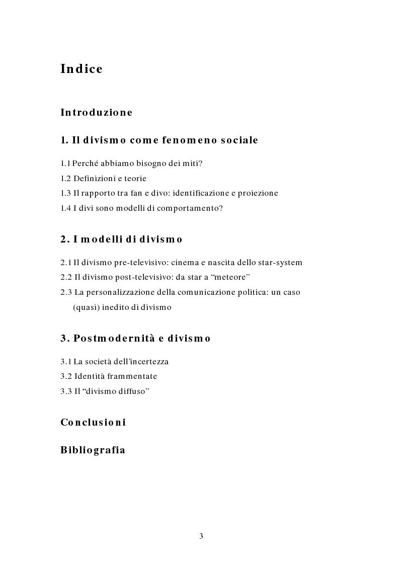Indice della tesi: Miti e divi della postmodernità, Pagina 1