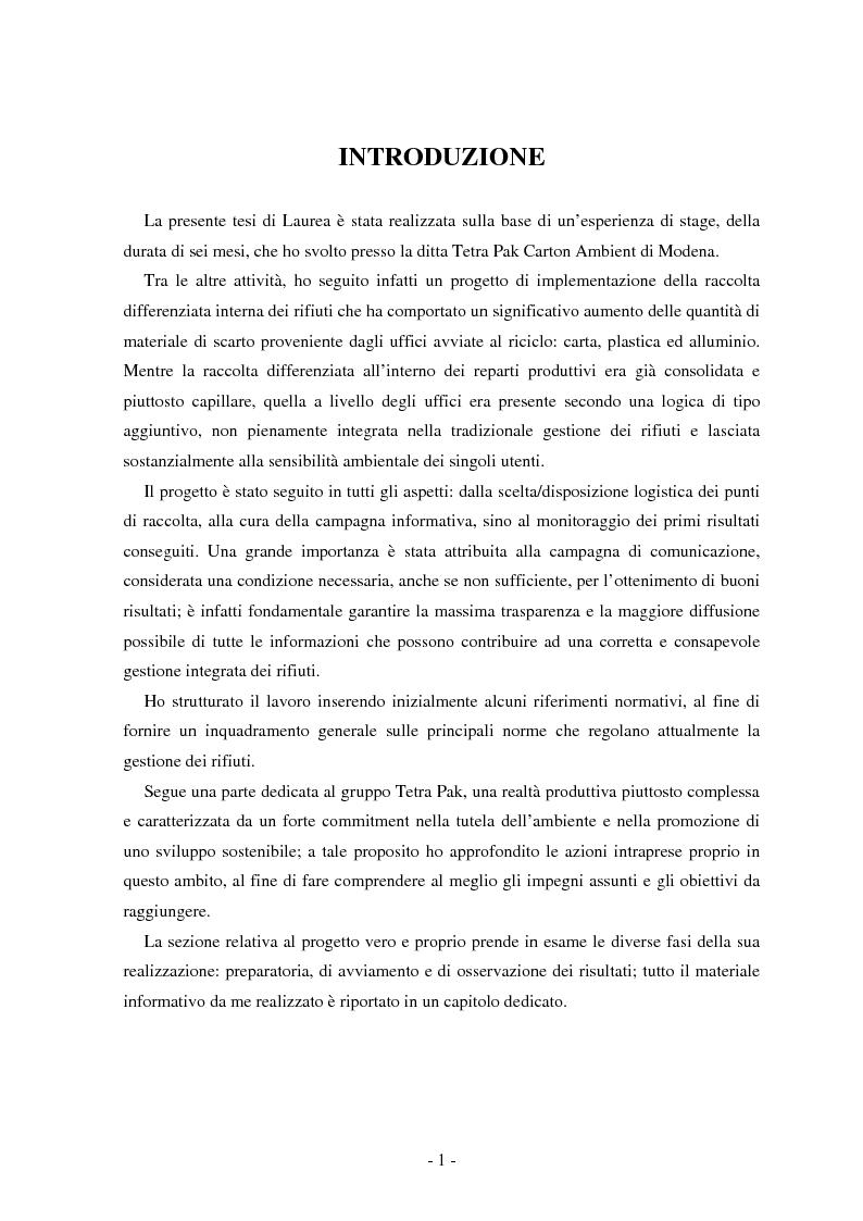 Anteprima della tesi: La raccolta differenziata negli uffici di Tetra Pak Carton Ambient di Modena: fattibilità e risultati, Pagina 1