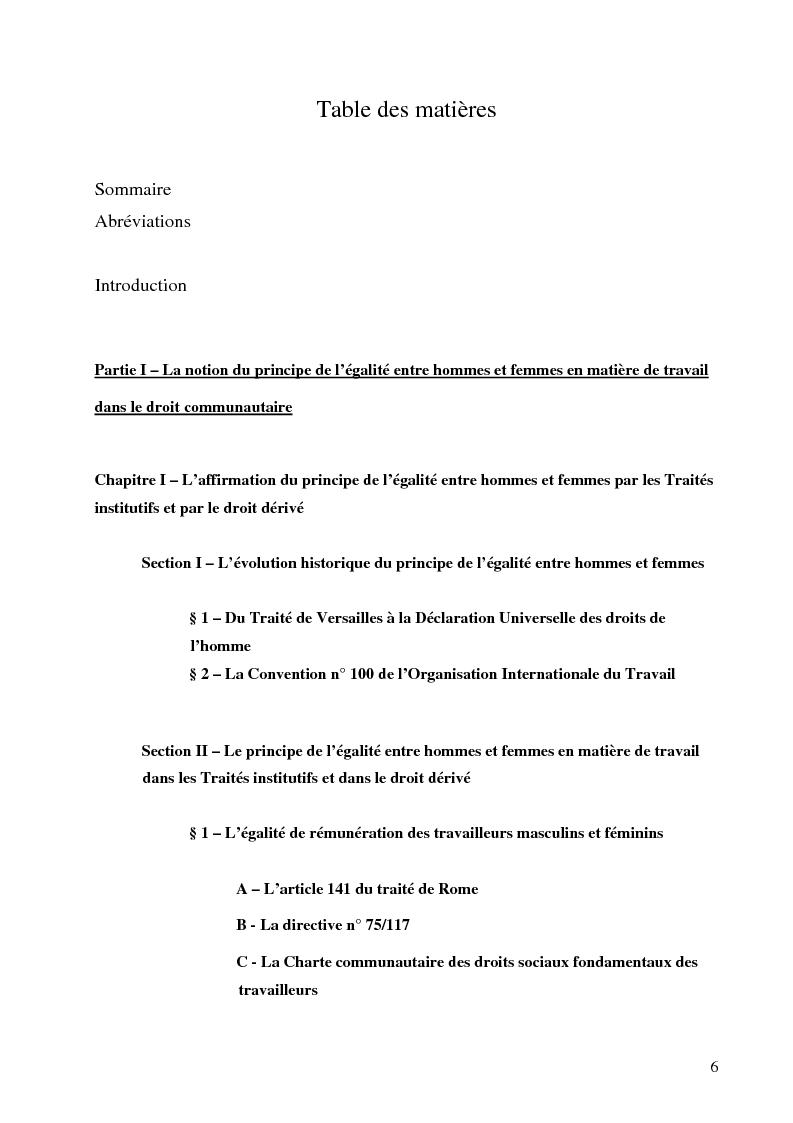 Indice della tesi: L'application par la France et l' Italie du principe européen d'égalité entre hommes et femmes en matière de travail, Pagina 1