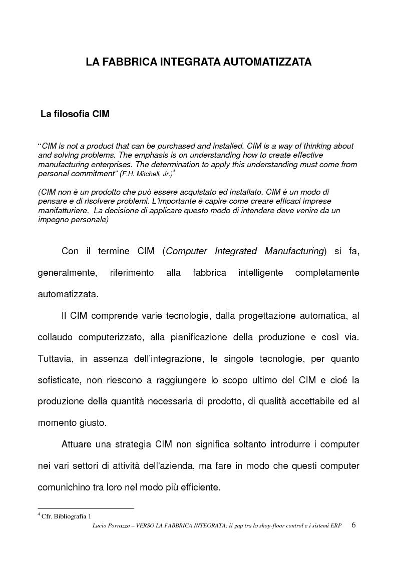 Anteprima della tesi: Verso la fabbrica integrata: il gap tra lo shop-floor control ed i sistemi ERP, Pagina 6
