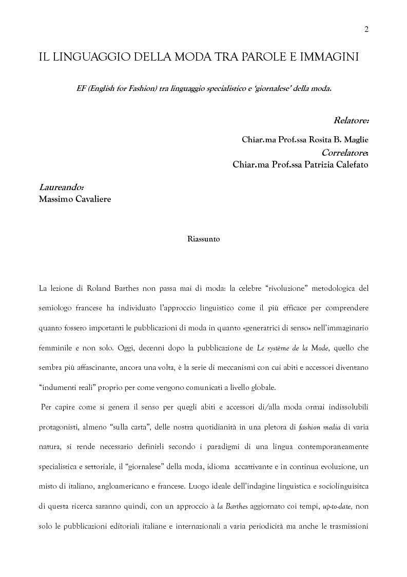 Anteprima della tesi: Il linguaggio della moda tra parole e immagini: EF (English for Fashion) tra linguaggio specialistico e ''giornalese'' della moda, Pagina 1
