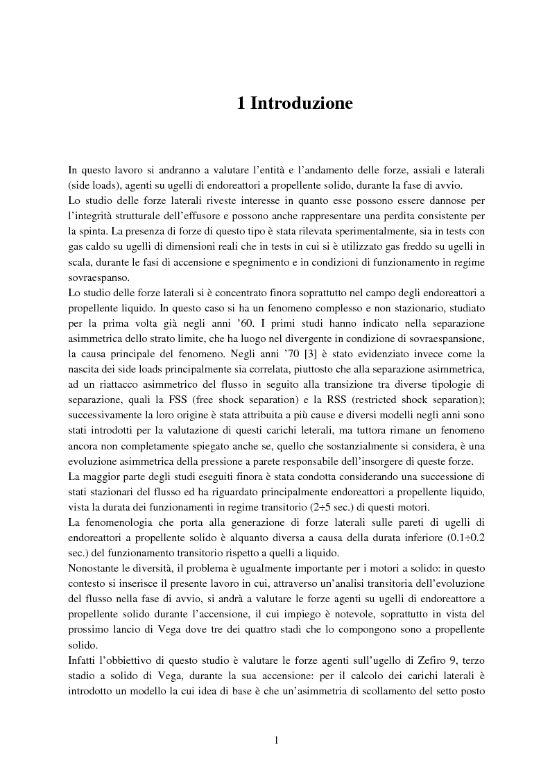 Anteprima della tesi: Valutazione delle forze agenti su ugelli di endoreattori a propellente solido durante la fase di accensione, Pagina 1