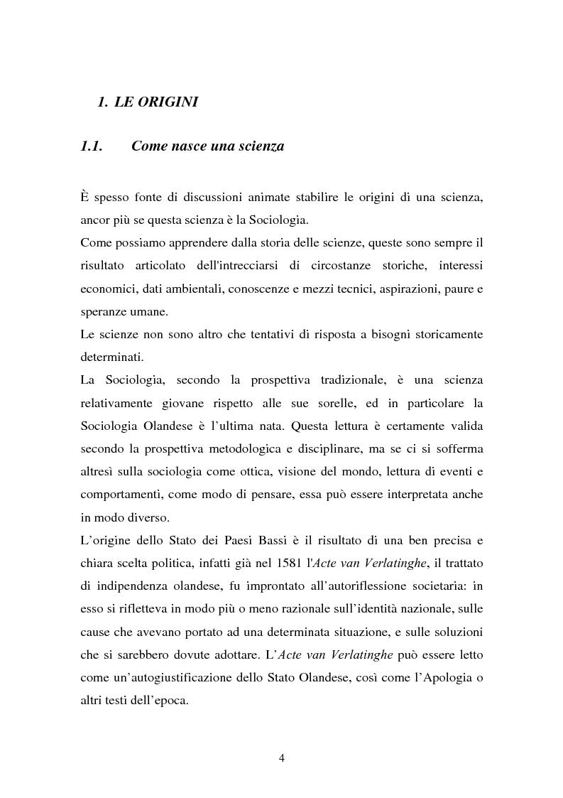 Anteprima della tesi: La Sociologia in Olanda, Pagina 1