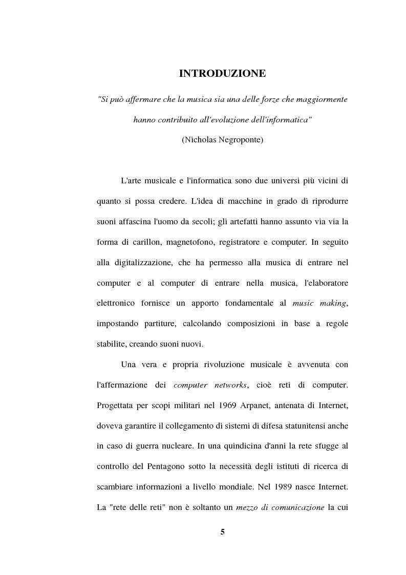 Anteprima della tesi: La musica nella Rete. Riconfigurazione del mercato nello spazio telematico., Pagina 1