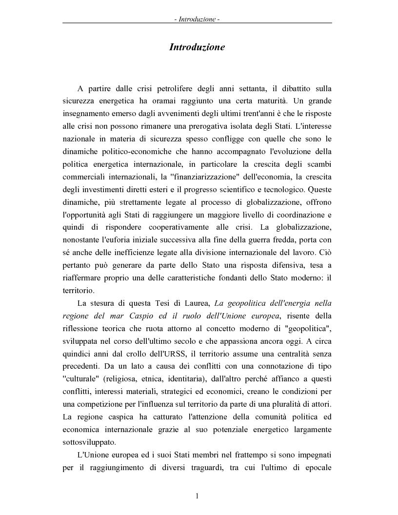 Anteprima della tesi: La geopolitica dell'energia nella regione del mar Caspio ed il ruolo dell'Unione europea, Pagina 1
