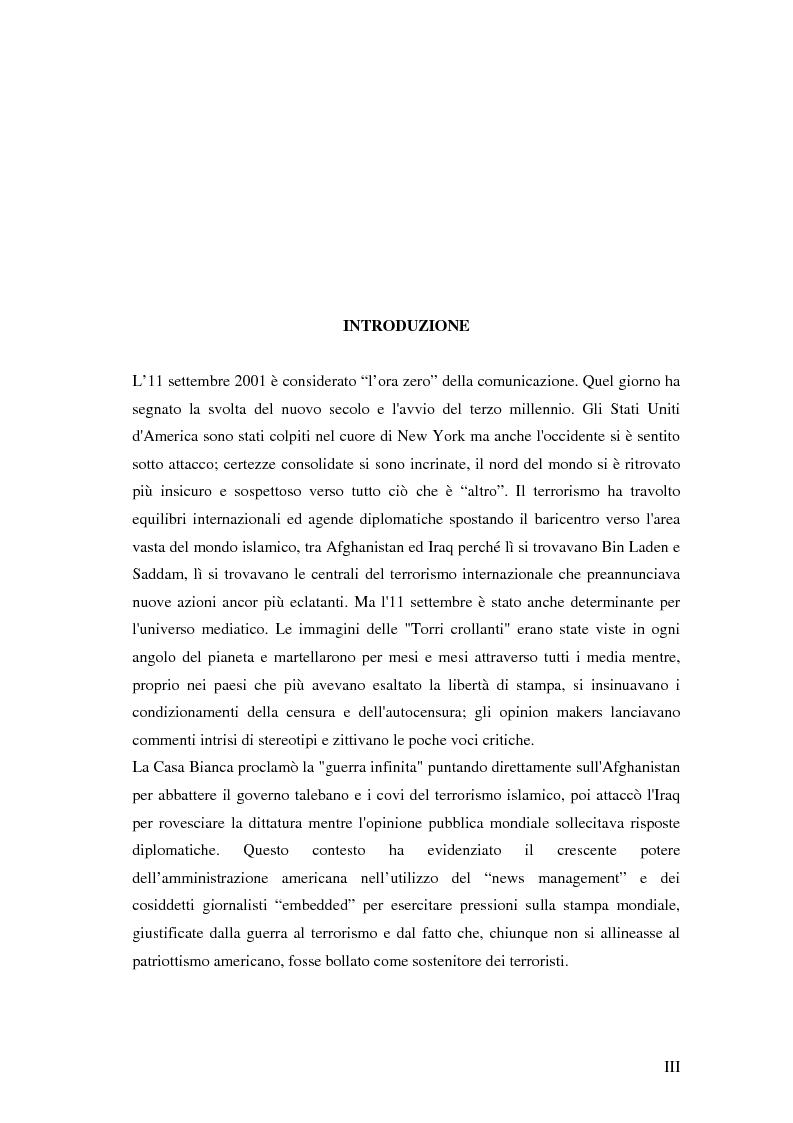 Anteprima della tesi: Agende setting a confronto.La notizia internazionale nella stampa italiana 2001-2003., Pagina 1