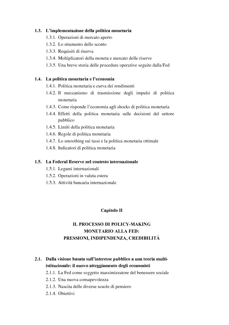 Indice della tesi: Il ruolo dei modelli macroeconomici nelle decisioni della FED: un'analisi della recessione del 90-91, Pagina 2