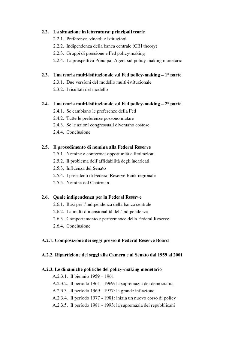 Indice della tesi: Il ruolo dei modelli macroeconomici nelle decisioni della FED: un'analisi della recessione del 90-91, Pagina 3