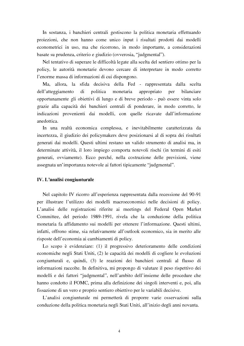 Anteprima della tesi: Il ruolo dei modelli macroeconomici nelle decisioni della FED: un'analisi della recessione del 90-91, Pagina 4