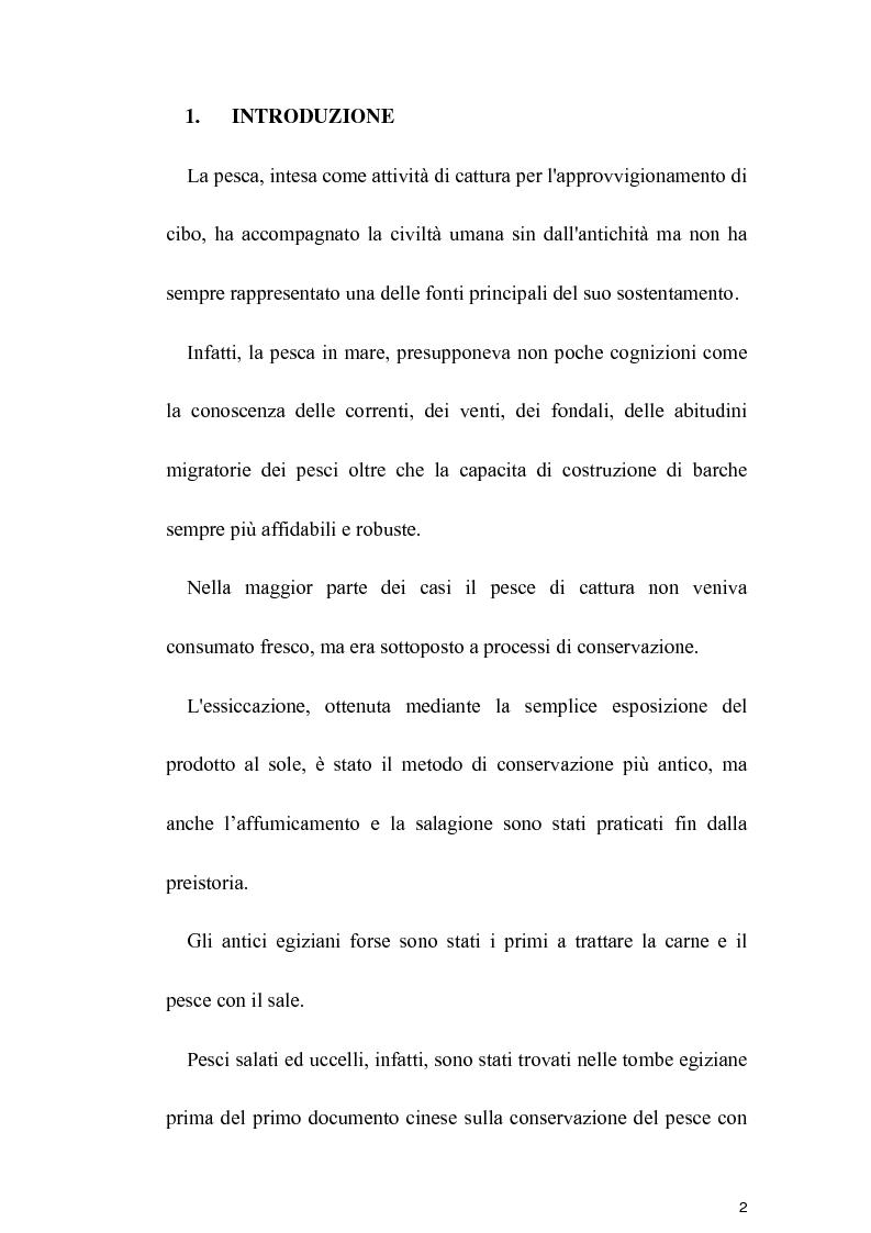 Anteprima della tesi: Effetti di differenti concentrazioni di sale durante il processo di salagione di merluzzo (GADUS MORHUA) e di salmone (SALMO SALAR), Pagina 1