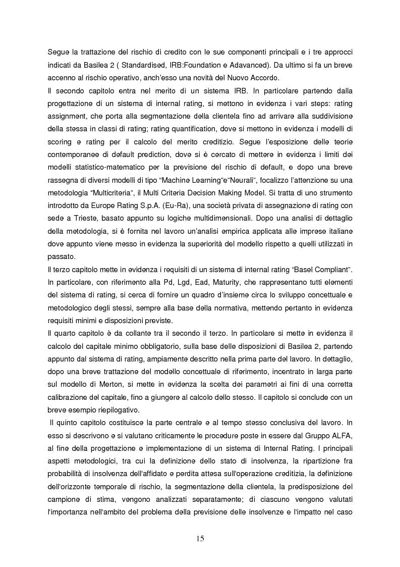 Anteprima della tesi: Progettazione e implementazione di un sistema di internal rating: il caso banca Alfa, Pagina 3