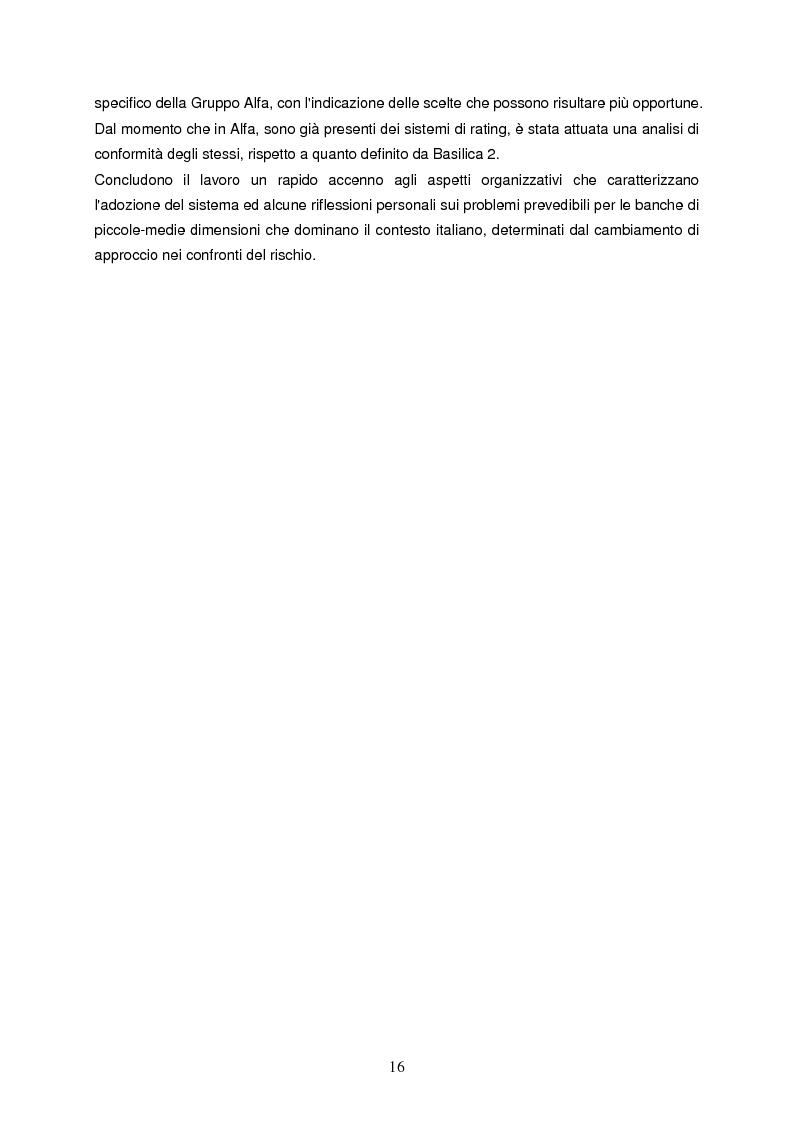 Anteprima della tesi: Progettazione e implementazione di un sistema di internal rating: il caso banca Alfa, Pagina 4