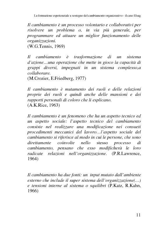 Anteprima della tesi: La formazione esperienziale a sostegno del cambiamento organizzativo-il caso Elsag, Pagina 6