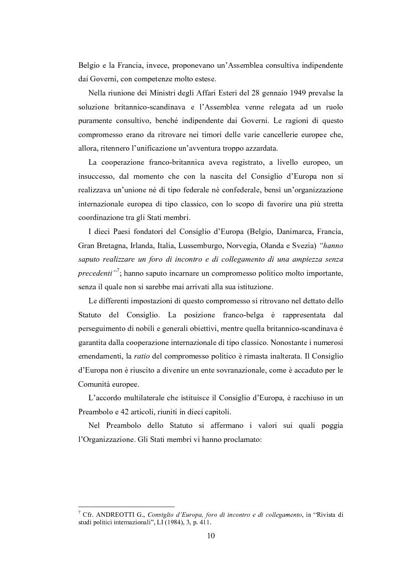 Anteprima della tesi: Il fattore religioso nella Convenzione europea dei Diritti dell'Uomo e la condizione delle Chiese in alcune sentenze della Corte di Strasburgo, Pagina 8