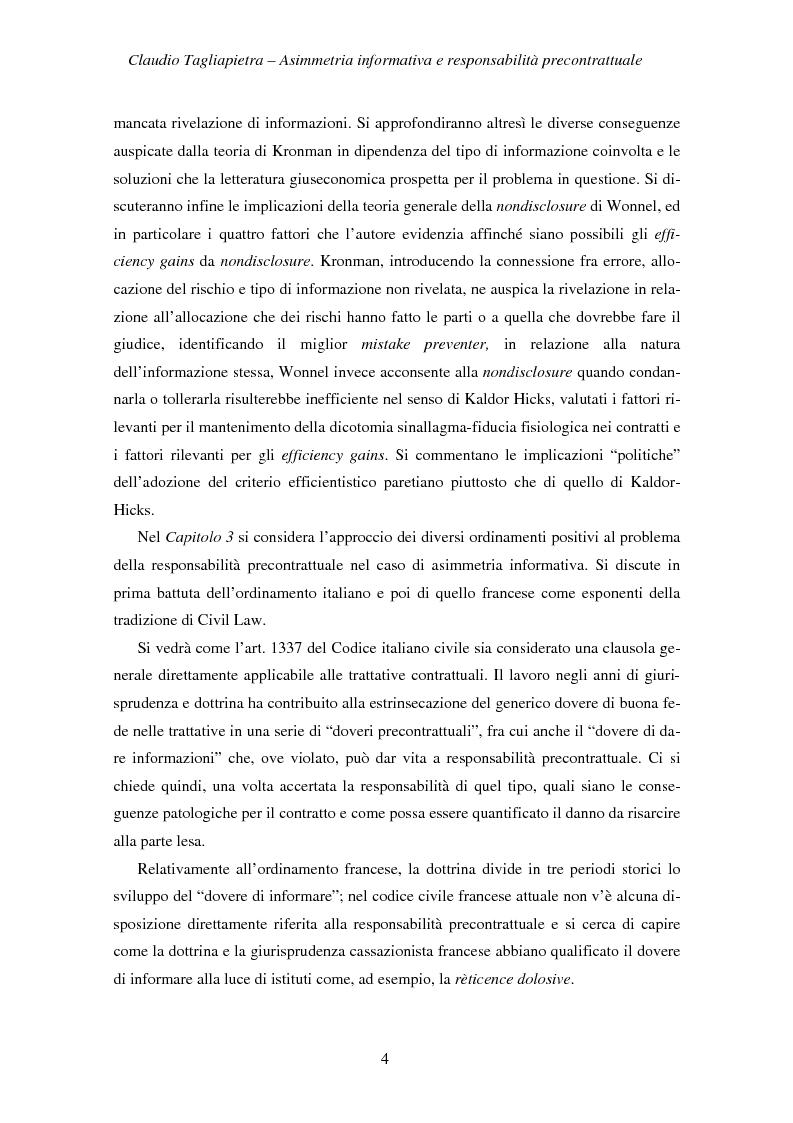 Anteprima della tesi: Asimmetria informativa e responsabilità precontrattuale, Pagina 2
