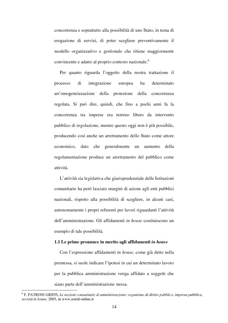 Anteprima della tesi: L'affidamento in house per l'esecuzione e la gestione dei servizi, Pagina 10