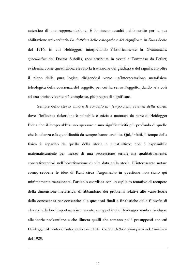 Anteprima della tesi: Heidegger e la Critica della ragion pura di Kant, Pagina 10