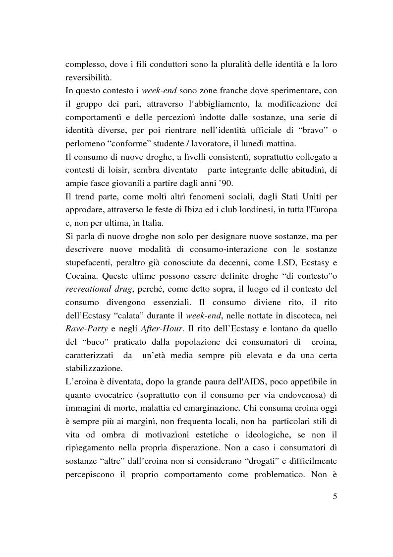 Anteprima della tesi: Nuove droghe e culture giovanili, Pagina 5