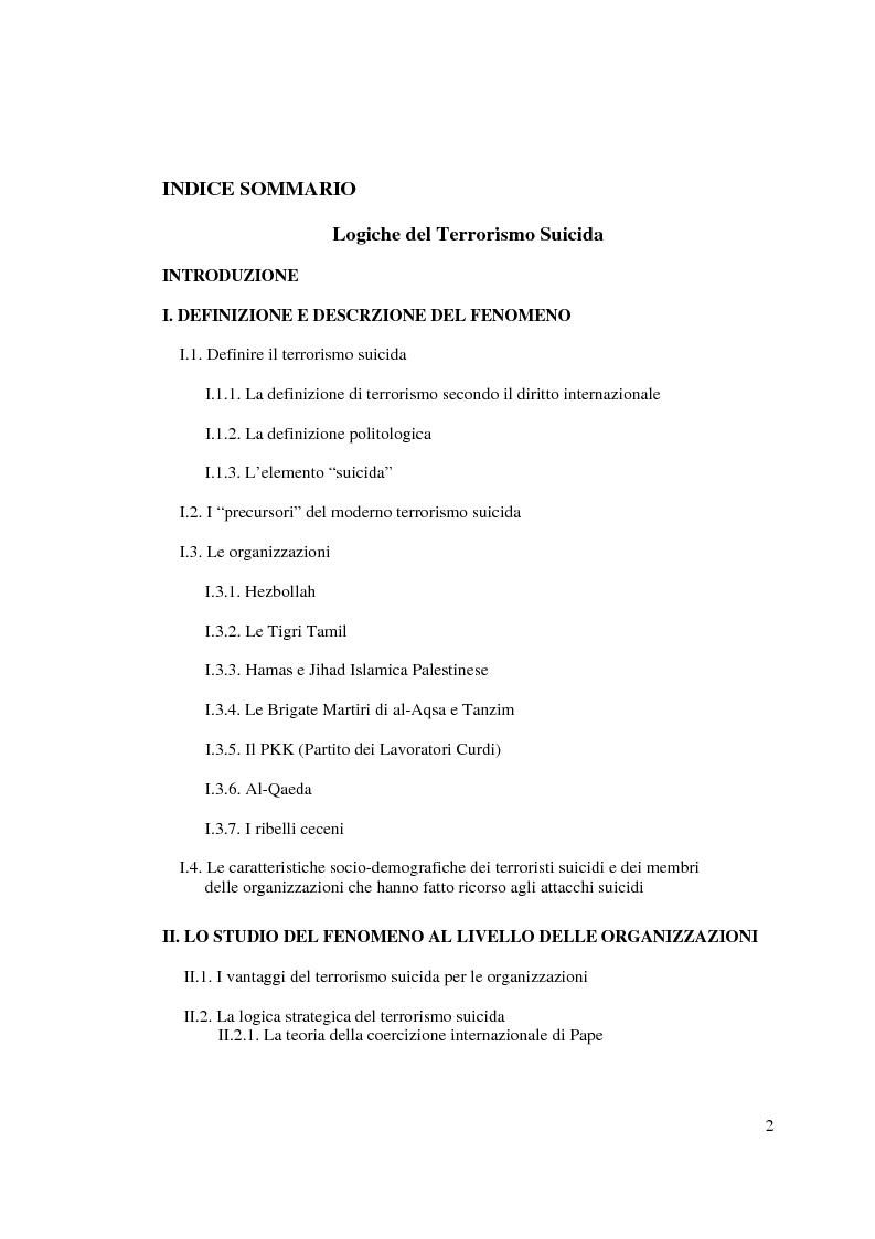 Indice della tesi: Logiche del terrorismo suicida, Pagina 1