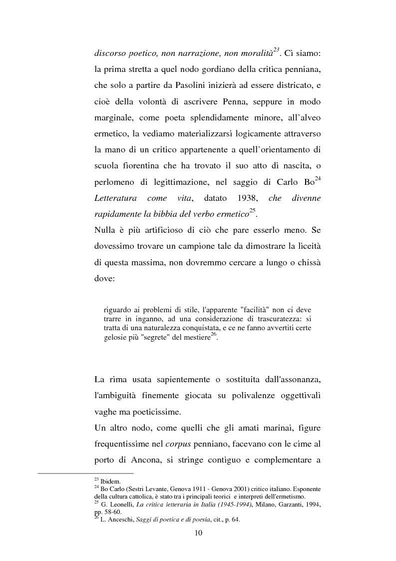 Anteprima della tesi: La poesia di Sandro Penna nella critica letteraria, Pagina 10