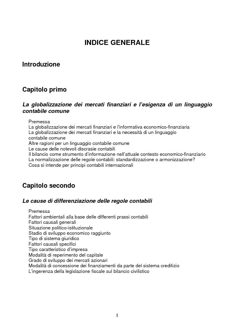 7395d22a03 Indice della tesi: Principi contabili internazionali, Pagina 1. «