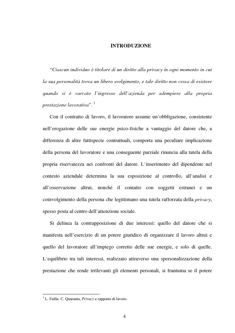 Anteprima della tesi: Rapporto di lavoro e privacy, Pagina 1