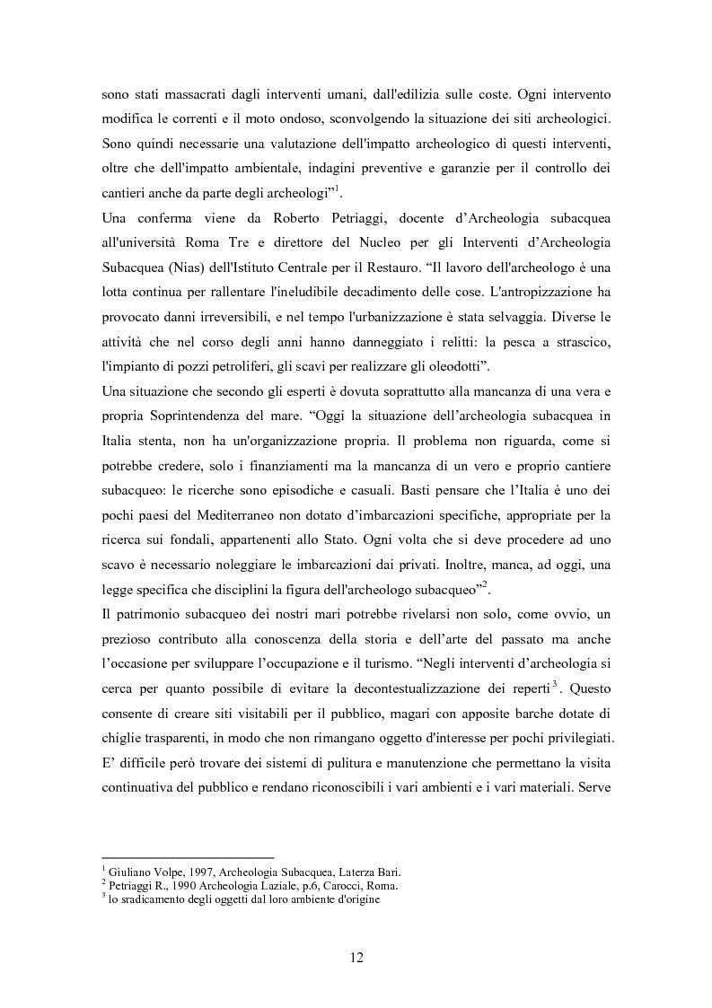 Anteprima della tesi: I musei di archeologia subacquea in Italia. Analisi della situazione e prospettive, Pagina 5