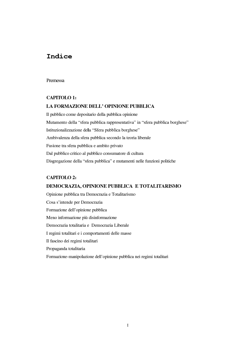 Indice della tesi: Opinione pubblica e democrazia nel pensiero politico, Pagina 1